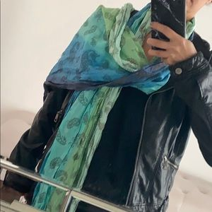 Express Teal Ombre Crinkled Scarf